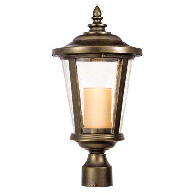 Bellingham Oil Rubbed Bronze Outdoor LED Medium Post Mount with Clear Glass and Amber Glass Candle