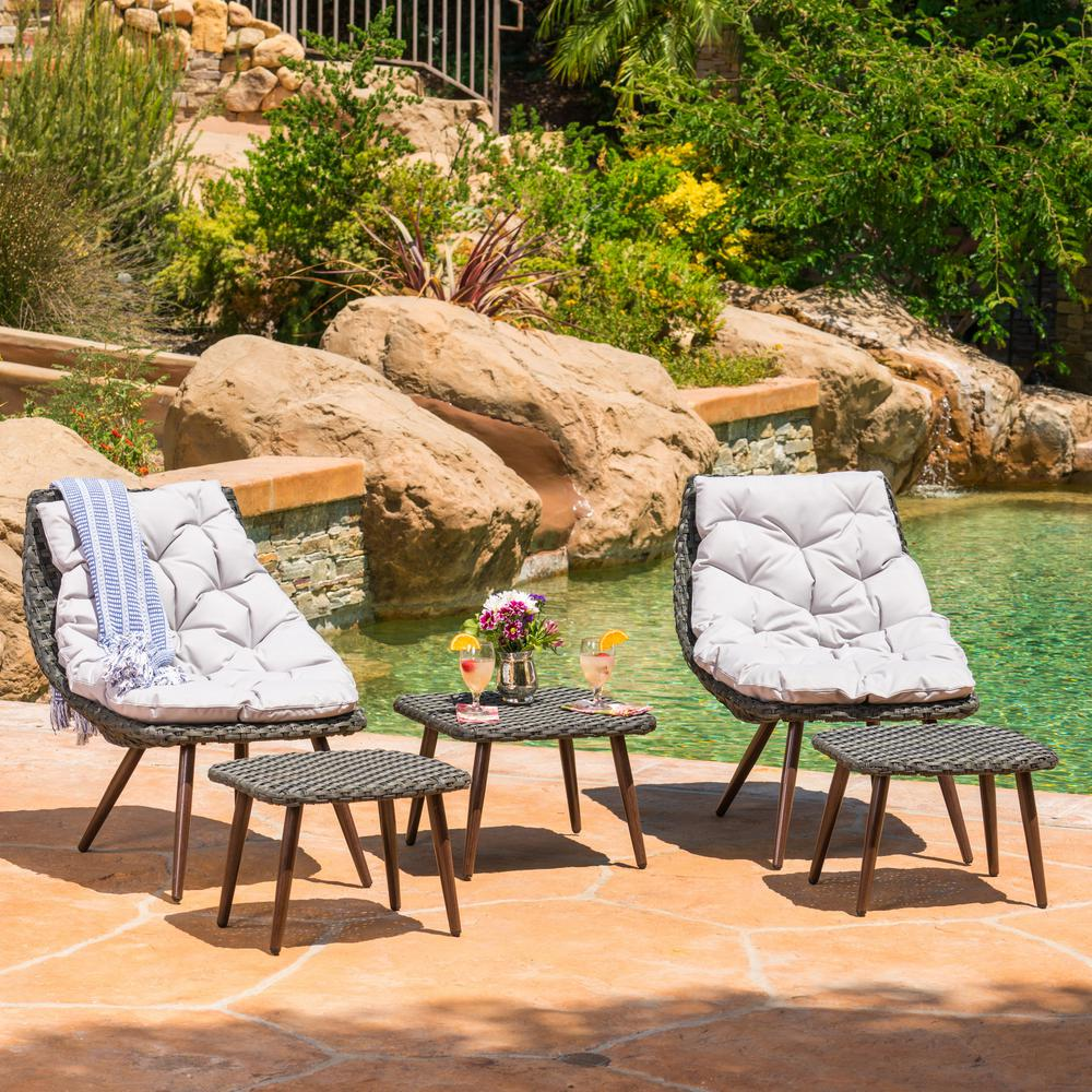 Noble House 5-Piece Wicker Patio Conversation Set with Gray Cushions