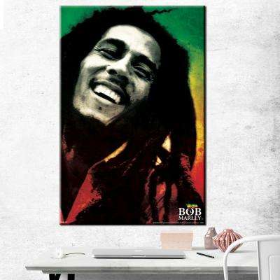 "24 in. x 36 in. ""Bob Marley - Paint"" Printed Canvas Wall Art"