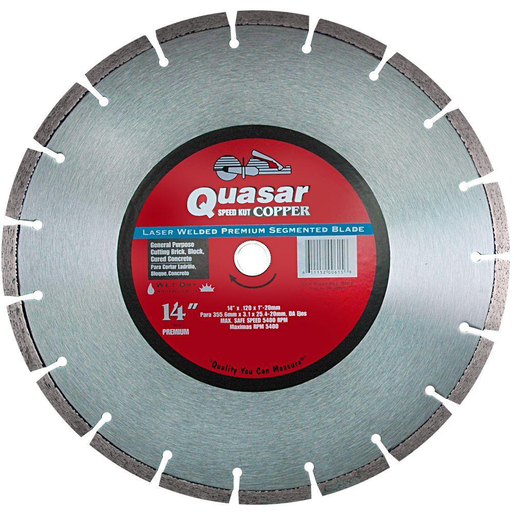 Quasar Speed Kut Copper 14 in. Laser Welded Premium Segmented Diamond Blade
