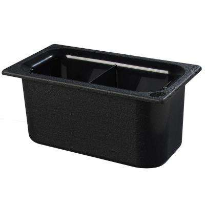 Coldmaster 6 in. Third Size Divided Deep Black Standard Food Pan