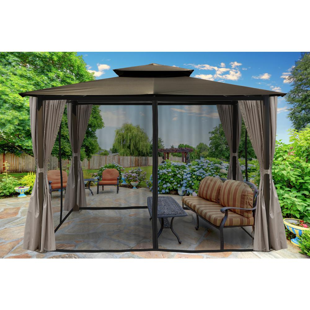 Gazebo With Grey Color Top And Privacy Curtains