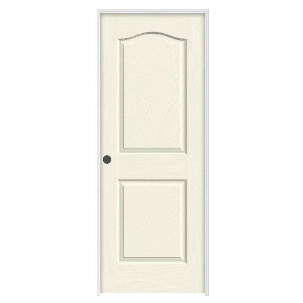 JELD-WEN 28 in. x 80 in. Princeton Vanilla Painted Right-Hand Smooth Solid Core Molded Composite MDF Single Prehung Interior Door