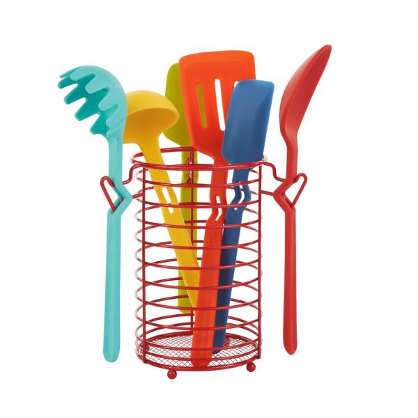 Fiesta 7 Piece Silicone Utensil Set With Wire Caddy 6520y8fsbds The Home Depot
