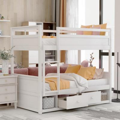 White with Drawers and Storage Twin Over Twin Bunk Bed