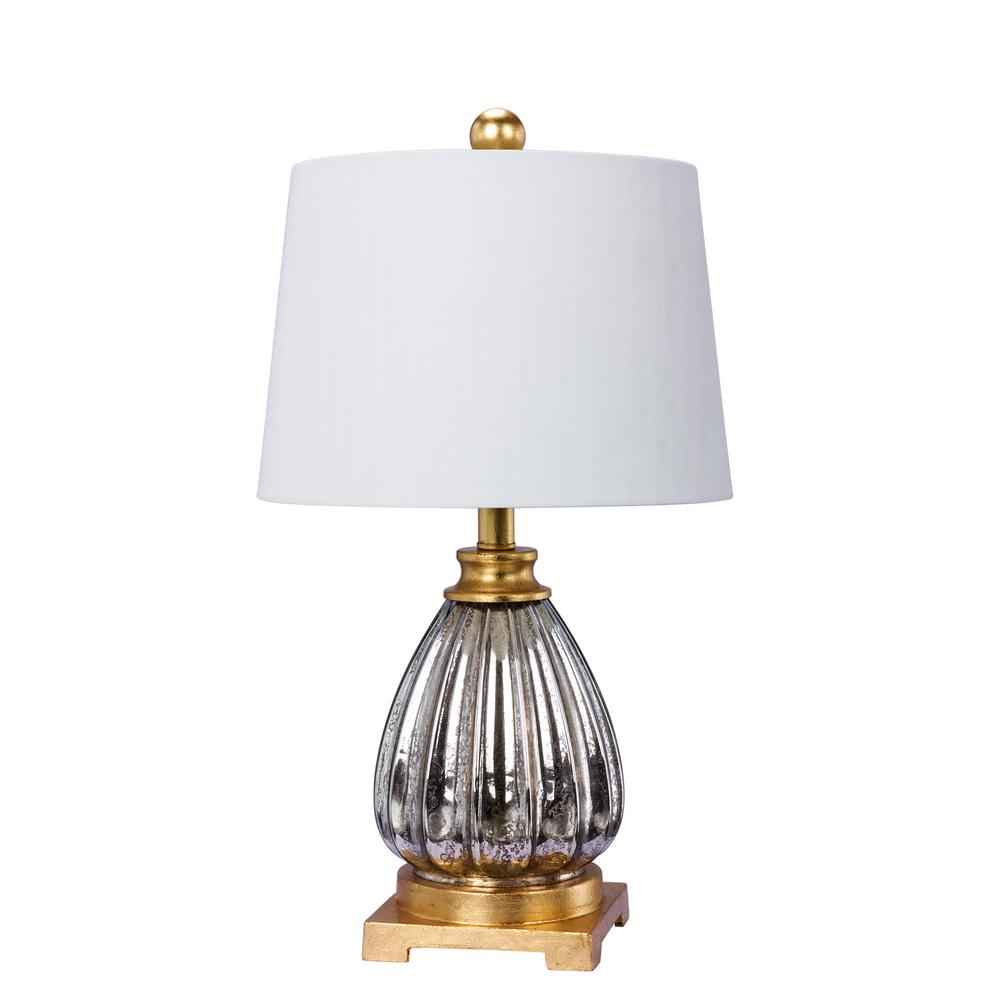 Mercury Gl And Antique Gold Resin Table Lamp
