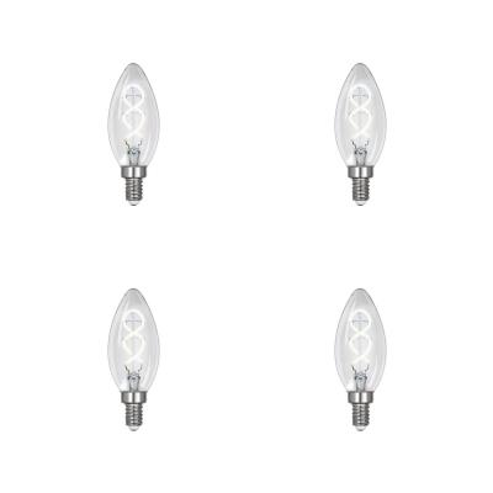 25-Watt Equivalent B10 Dim Candelabra Clear Glass Vintage Edison LED Light Bulb with Spiral Filament Daylight (4-Pack)