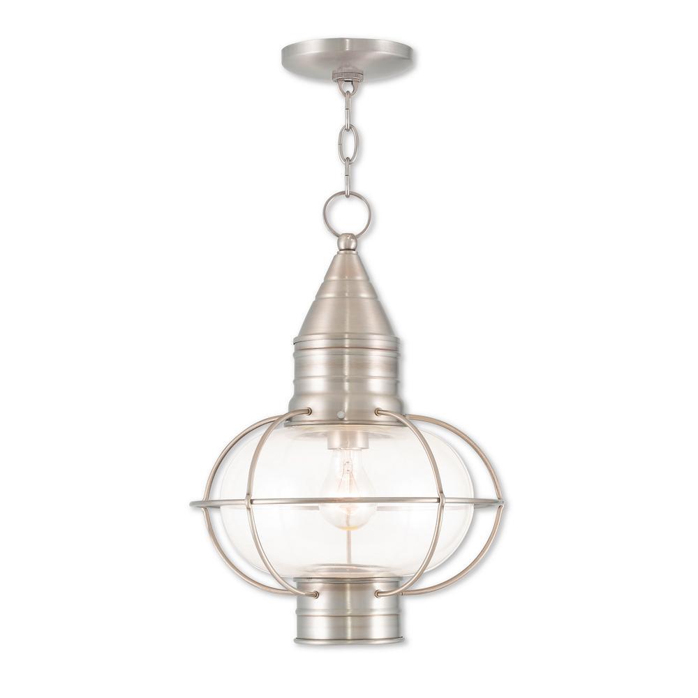 Newburyport Brushed Nickel 1-Light Outdoor Hanging Lantern