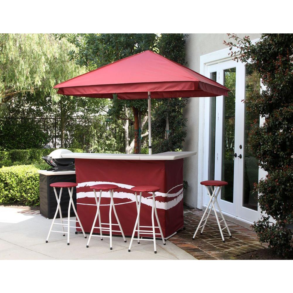 Classic Burgundy All-Weather Patio Bar Set with 6 ft. Umbrella