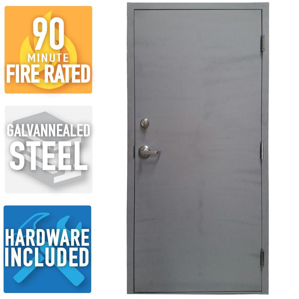 36 in. x 80 in. Fire-Rated Gray Left-Hand Flush Steel Commercial