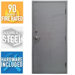 36 In X 80 In Fire Rated Gray Left Hand Outswing Flush