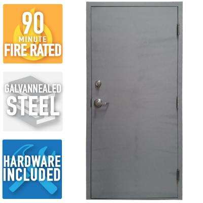 36 in. x 80 in. Fire-Rated Gray Left-Hand Flush Steel Commercial Door with Welded Frame, Deadlock and Hardware
