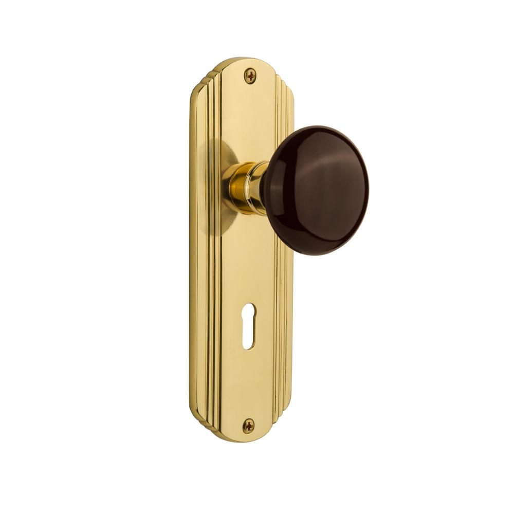 Deco Plate with Keyhole Single Dummy Brown Porcelain Door Knob in Unlacquered Brass