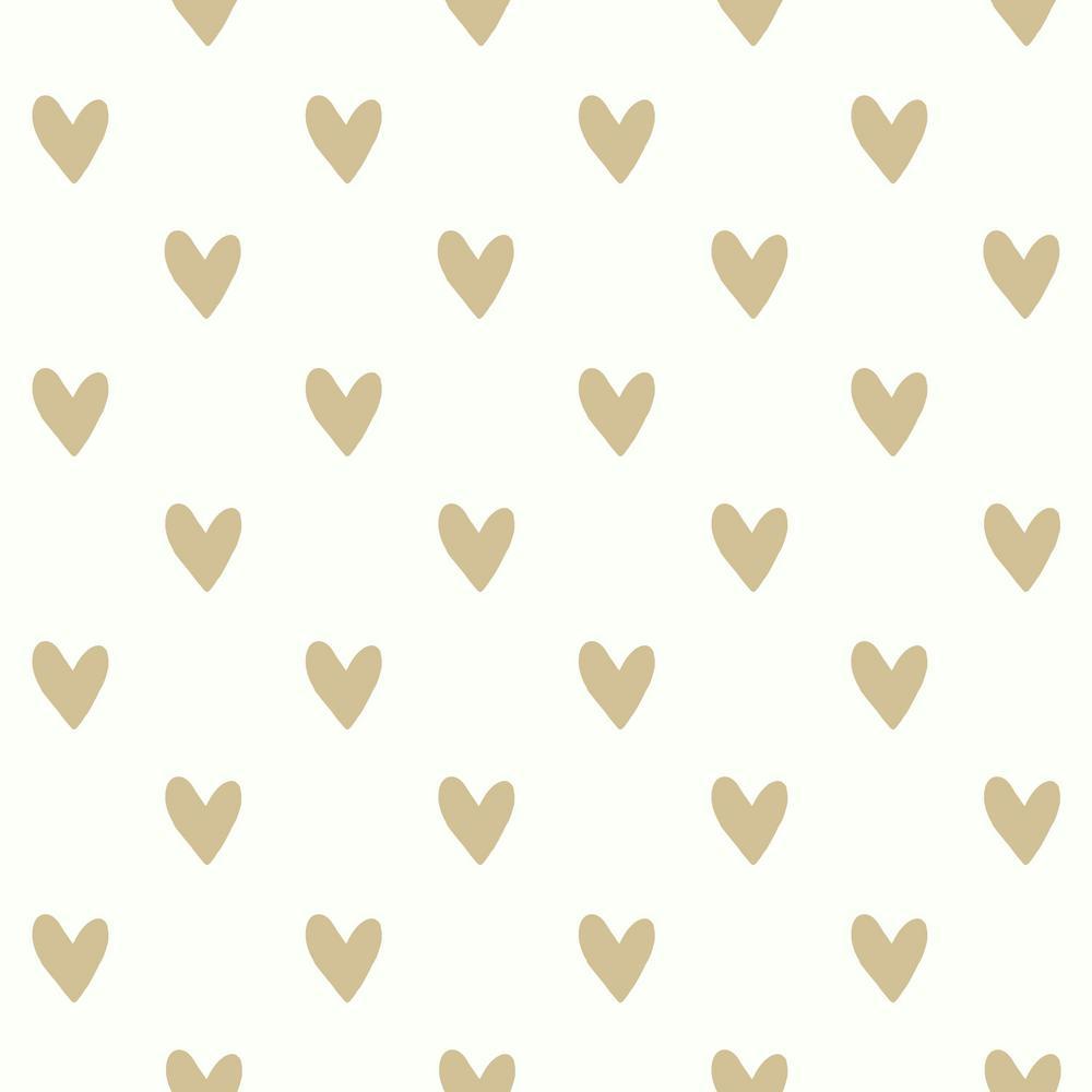 Roommates 2818 Sq Ft Gold Heart Spot Peel And Stick Wallpaper