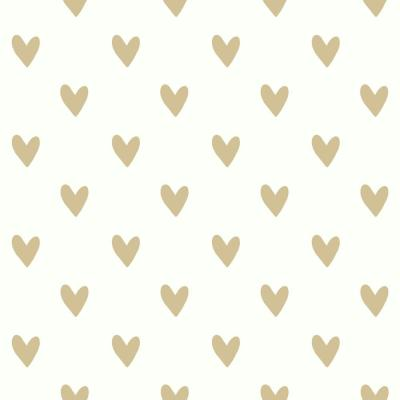 28.18 sq. ft. Gold Heart Spot Peel and Stick Wallpaper