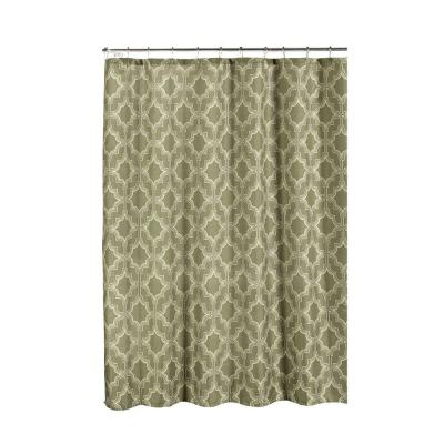 Faux Linen Textured 70 in. W x 72 in. L Shower Curtain with Metal Roller Rings in Loren Taupe