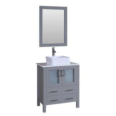 30 in. W Single Bath Vanity with Pheonix Stone Vanity Top in White with White Basin and Mirror
