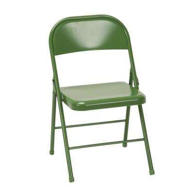 Green Metal Stackable Folding Chair (Set of 2)