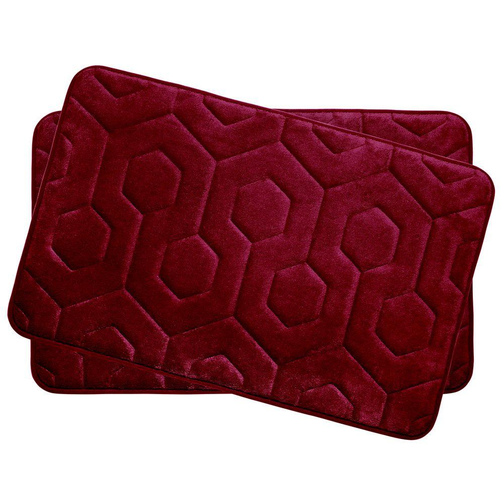 Hexagon Red 17 in. x 24 in. Memory Foam Bath Mat