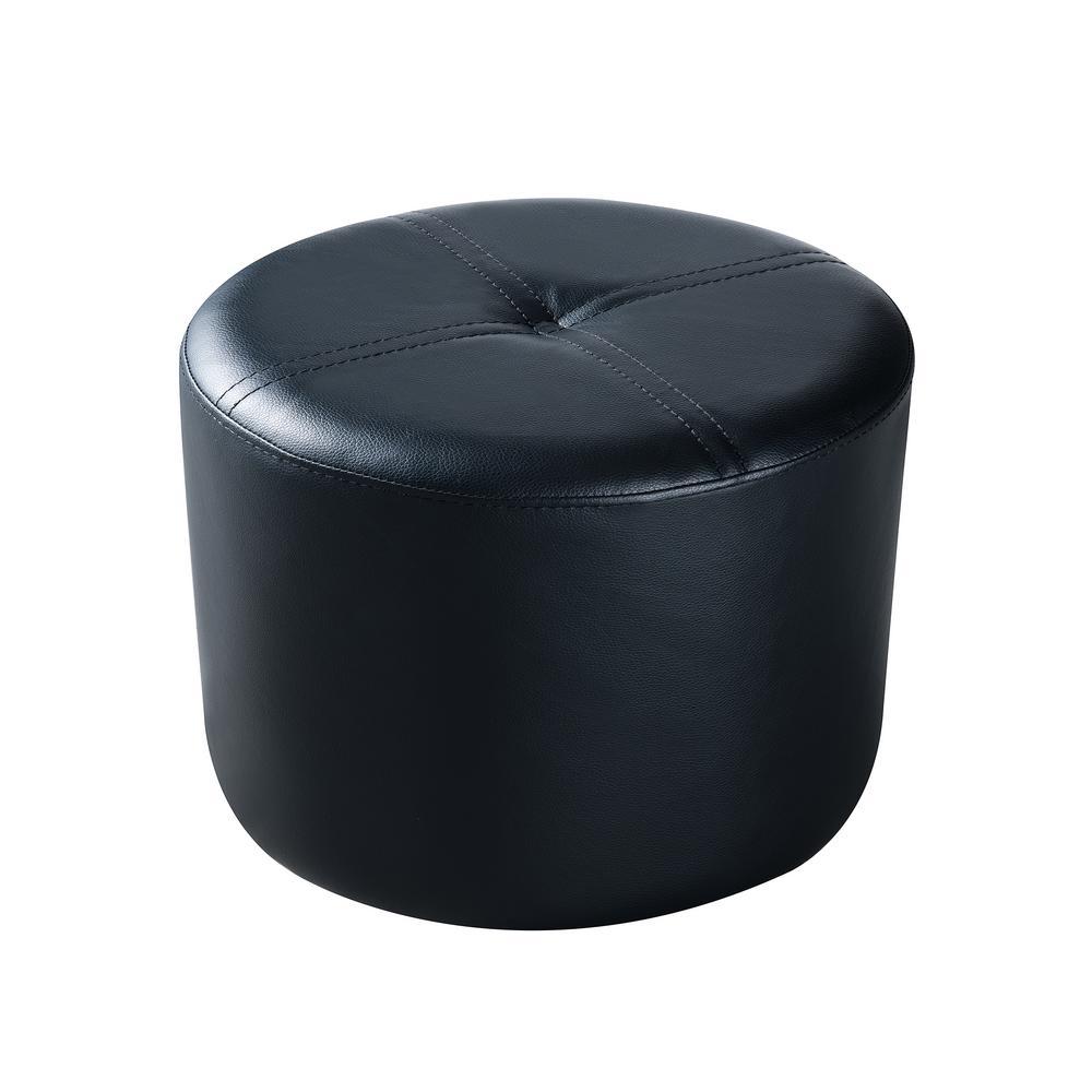 Pouf Black Vinyl Round Ottoman
