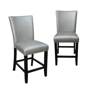 Superb Camila 24 In Silver Counter Chair Set Of 2 Squirreltailoven Fun Painted Chair Ideas Images Squirreltailovenorg
