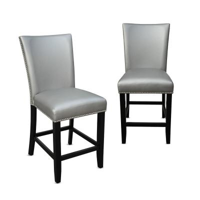 Camila 24 in. Silver Counter Chair (Set of 2)