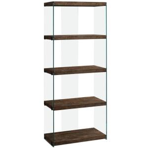 Brown Reclaimed Wood with Glass Panels Etagere