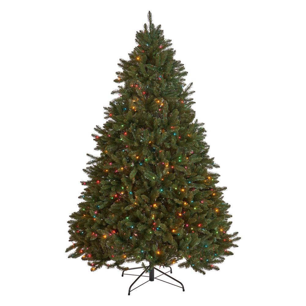 7 5 Foot Artificial Christmas Tree Multi Colored Lights: Noble House 9 Ft. Pre-Lit Norway Spruce Hinged Artificial