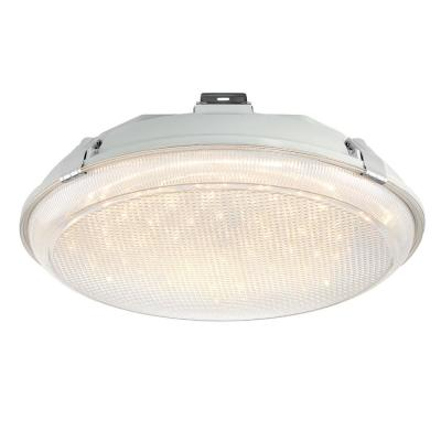 14 in. 1-Light Gray Integrated LED Outdoor Indoor Flush Mount Light Suspended Bug Proof Wet Location with Cord and Plug