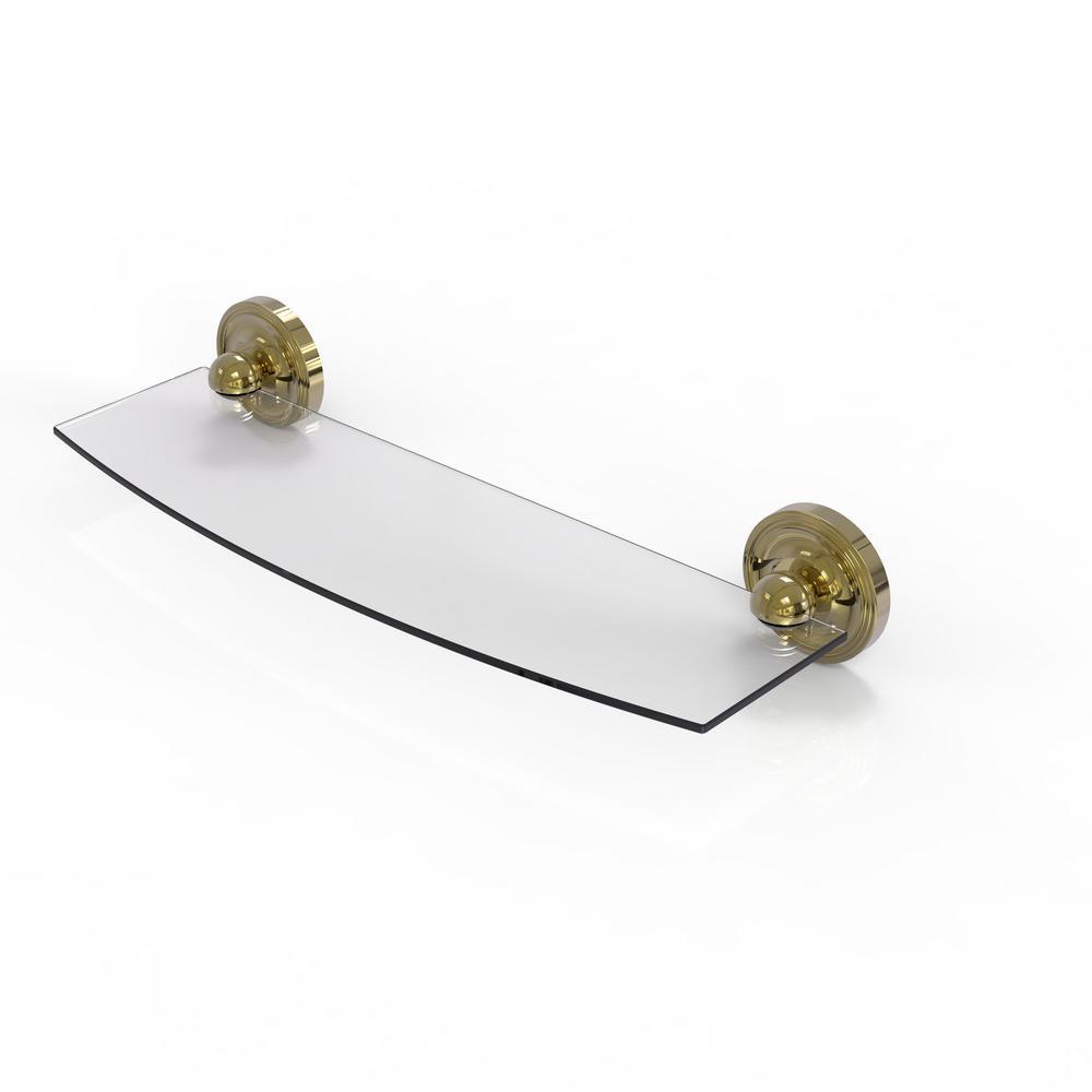 Prestige Regal 18 in. L  x 3 in. H  x 5 in. W Clear Glass Bathroom Shelf in Unlacquered Brass