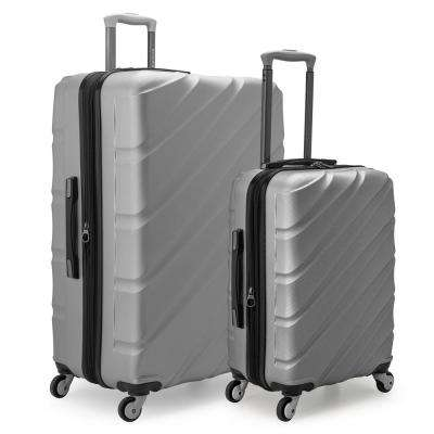 Gilmore 2-Piece Silver Expandable Hardside 4-Wheel Spinner Luggage Set with Push-Button Handle System