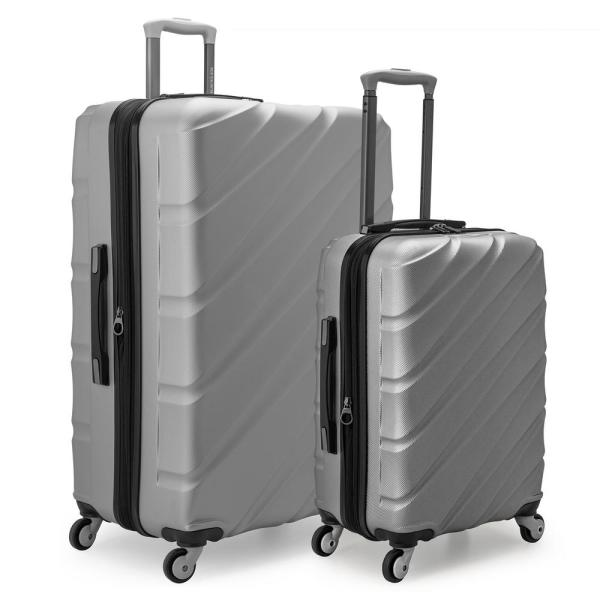 U.S. Traveler Gilmore 2-Piece Silver Expandable Hardside 4-Wheel Spinner Luggage Set with Push-Button Handle System