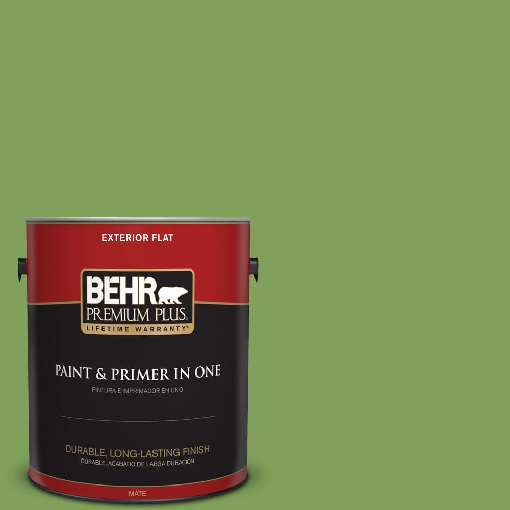BEHR Premium Plus 1-gal. #P380-6 Springview Green Flat Exterior Paint