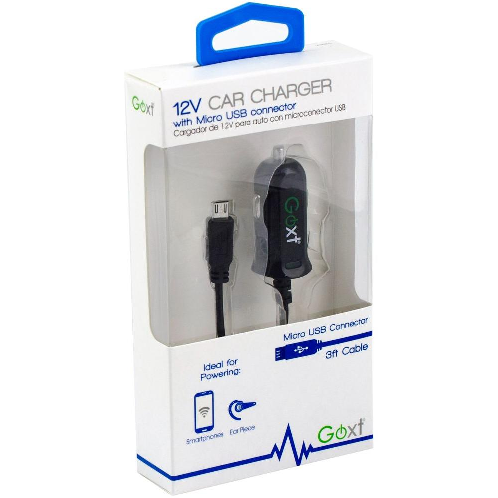 12-Volt Car Charger with Micro USB Connector in Black-23675 - The ...