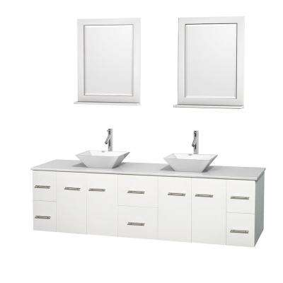 Centra 80 in. Double Vanity in White with Solid-Surface Vanity Top in White, Porcelain Sinks and 24 in. Mirror