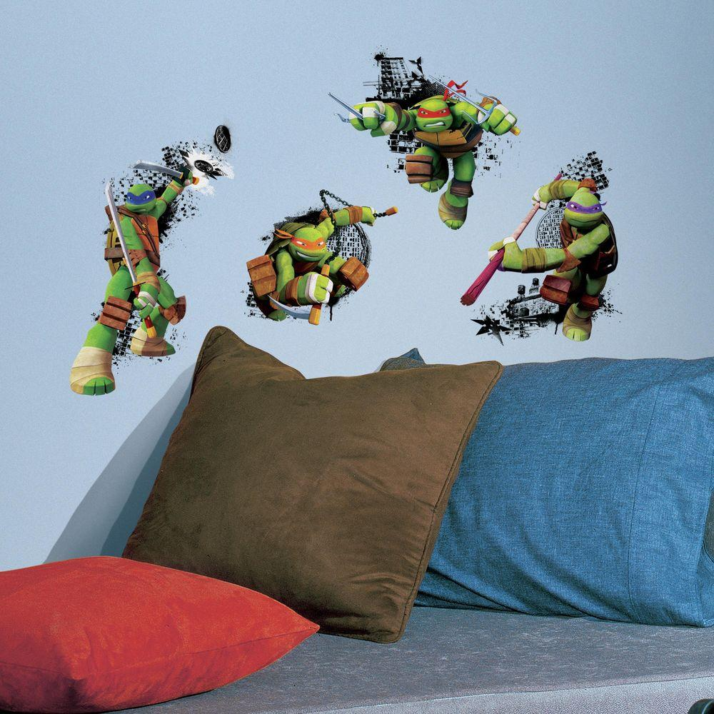 RoomMates 2.5 in. x 21 in. Teenage Mutant Ninja Turtles in Action Peel and Stick Giant Wall Decal (4-Piece)