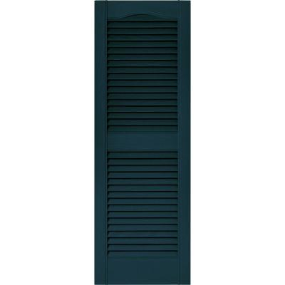 15 in. x 43 in. Louvered Vinyl Exterior Shutters Pair in #166 Midnight Blue