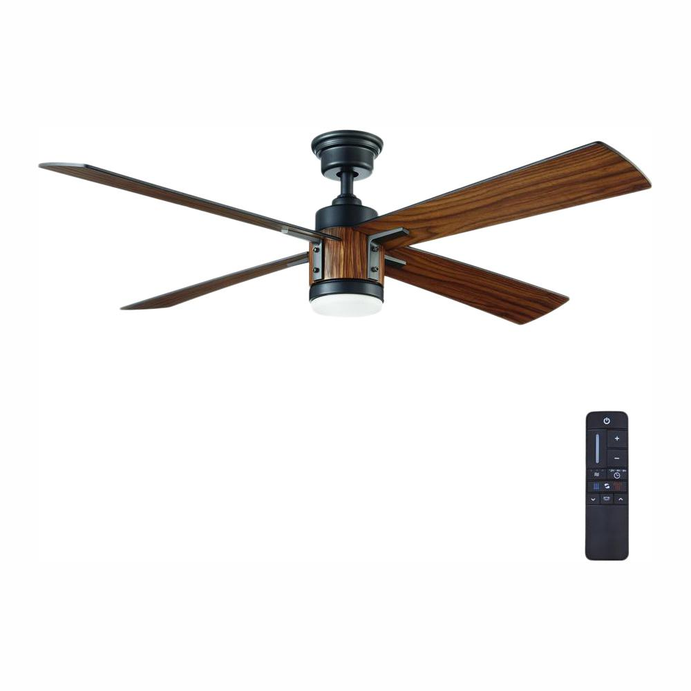 Home Decorators Collection Tybault 52 in. LED DC Motor Natural Iron Ceiling Fan