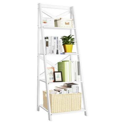 Classic 56.3 in. 4-Tier Ladder Shelf Bookshelf in White