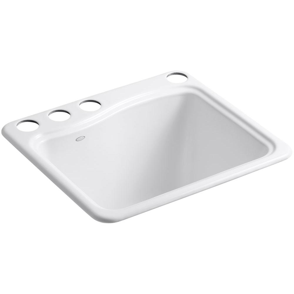 River Falls Undermount Cast-Iron 25 in. 4-Hole Single Bowl Utility Sink