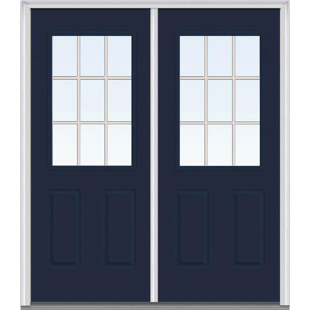 MMI Door 64 in. x 80 in. Tan Internal Grilles Left-Hand Inswing 1/2-Lite Clear Painted Fiberglass Smooth Prehung Front Door