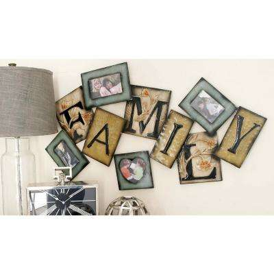 "41 in. x 23 in. New Traditional Iron ""Family"" Tile Montage Photo Frame"