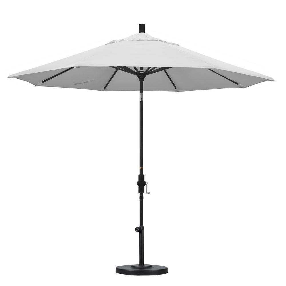 9 ft. Black Aluminum Pole Market Aluminum Ribs Collar Tilt Crank Lift Patio Umbrella in Natural Sunbrella
