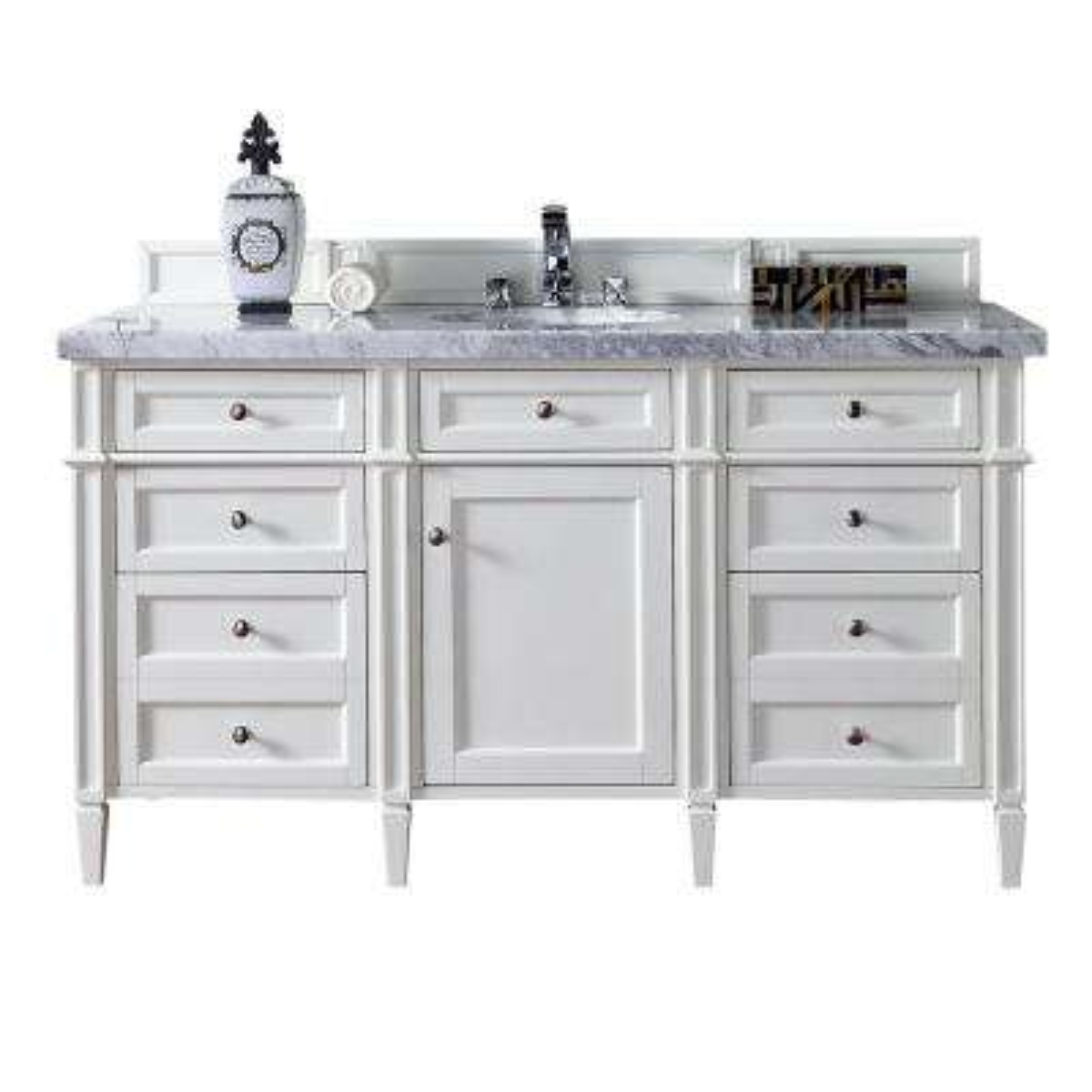 Brittany 60 in. W Single Vanity in Cottage White with Marble Vanity Top in Carrara White with White Basin