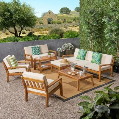 Grenada Teak Brown 9-Piece Wood Patio Conversation Sectional Seating Set with Beige Cushions