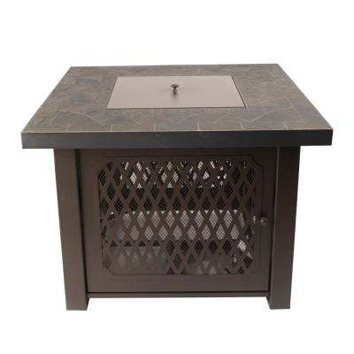 Walden 38 in. x 29 in. Square Steel Propane Gas Fire Pit Table in Brown with Glass Fire Rocks