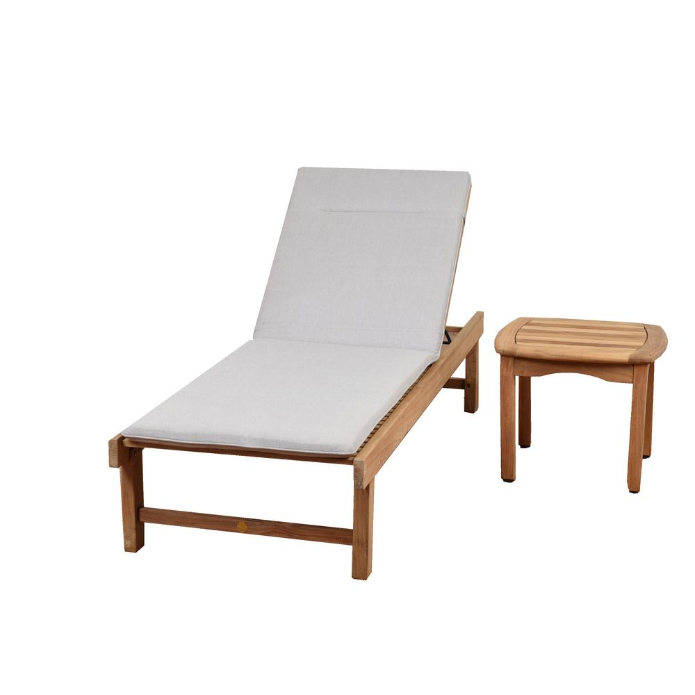 Radcliffe 3-Piece Teak Outdoor Chaise Lounge with Light Grey Cushions