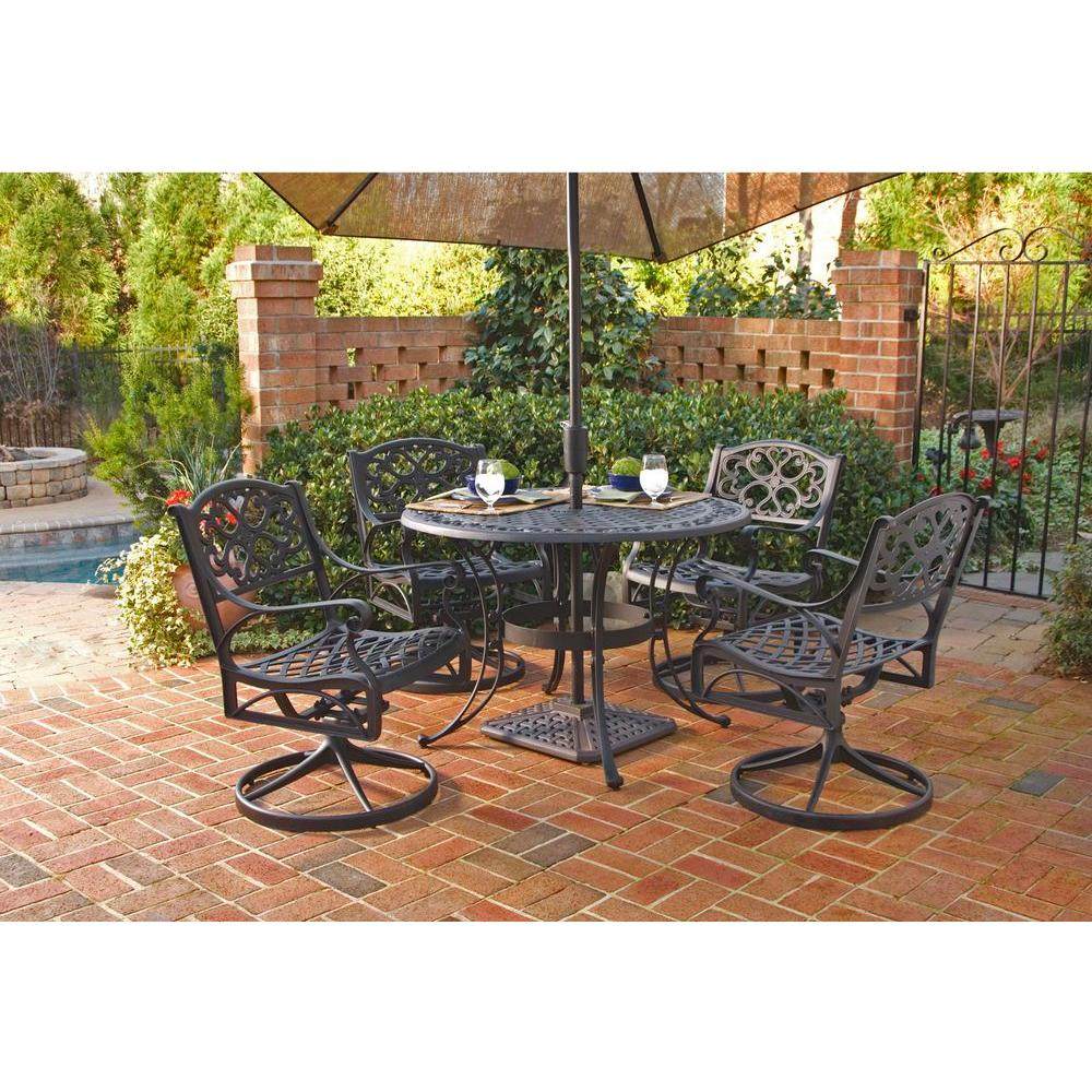 Home Styles Biscayne 42 in. Black 5-Piece Round Swivel Patio Dining Set