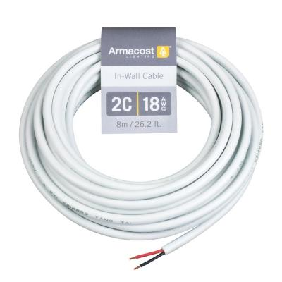 24 ft. (8 m) 18 AWG/2C White In-Wall Cable