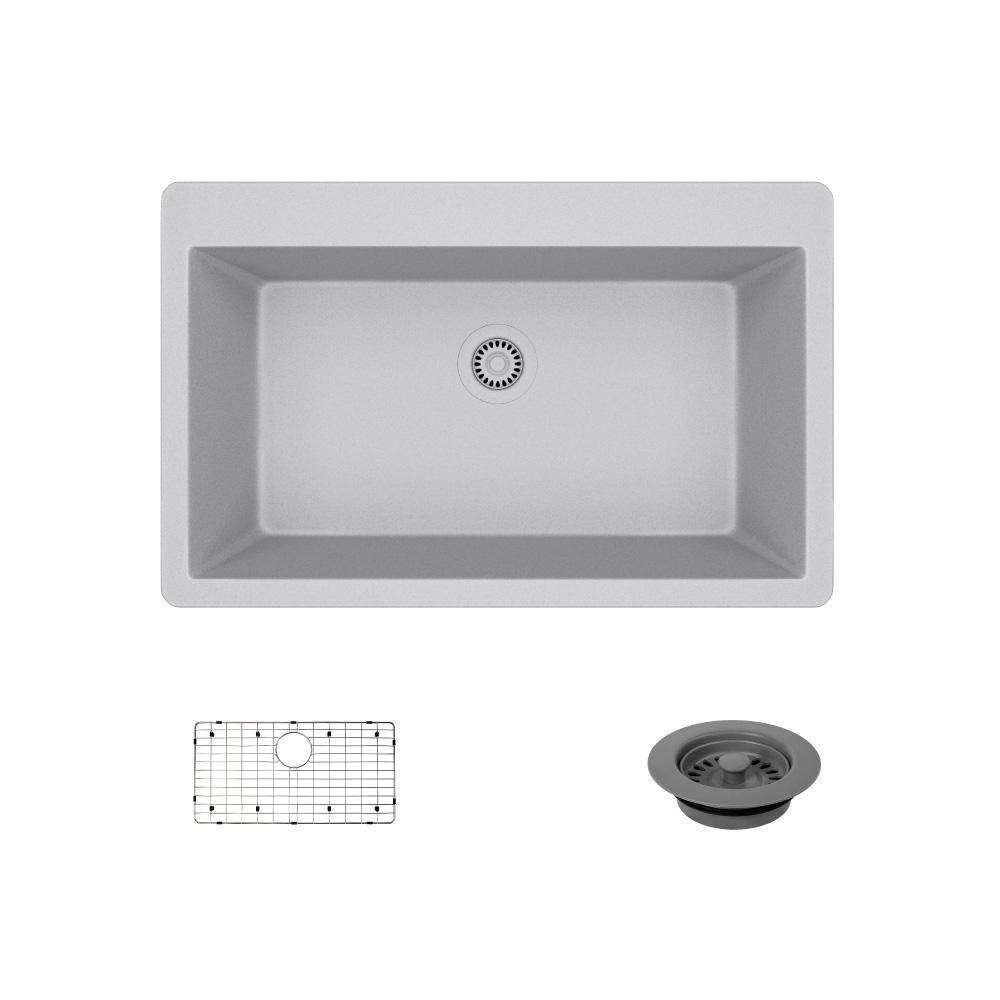 Drop-In Composite Granite 33 in. Single Basin Kitchen Sink in Pewter